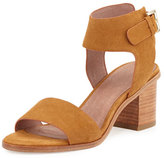 Joie Bea Suede Mid-Heel City Sandal, Whiskey