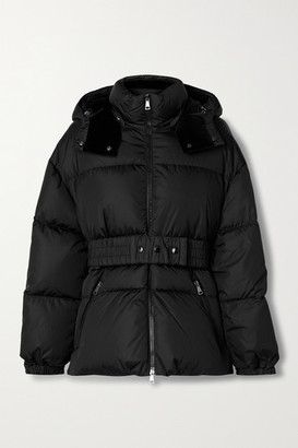 Moncler Tiac Belted Velvet-trimmed Quilted Shell Down Jacket - Black