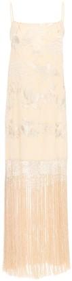 Johanna Ortiz Embroidered Silk Long Dress W/ Fringes