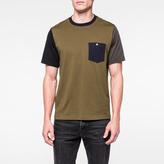 Paul Smith Men's Khaki Colour-Block Supima-Cotton Pocket T-Shirt