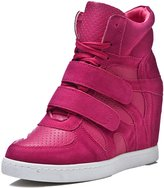 D2C Beauty Women's Velcro Lace-up Suede Leatherette Wedge Sneakers - 6 M US