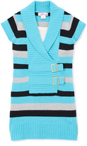 Pink Angel Iceland Teal Stripe Double-Buckle Sweater Dress - Girls