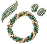 Van Cleef & Arpels 18k Yellow Gold Turquoise and Pearl Bracelet, Earrings & Brooch Set