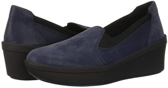 Clarks Step Rose Moon (Navy Textile) Women's Wedge Shoes