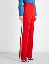 Calvin Klein Striped straight high-rise wool-twill trousers