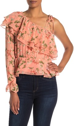 Endless Rose Floral Ruffled One Sleeve Blouse