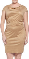 Kay Unger New York Cap-Sleeve Draped Suede Dress, Women's