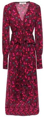 Diane von Furstenberg Asymmetric Gathered Printed Crepe Dress