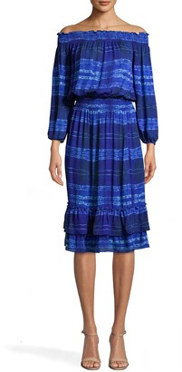 Nicole Miller Shibori Stripe Smocked Off The Shoulder Dress