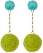 Yochi Drop Pom Pom Earrings