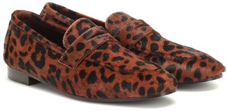 Bougeotte Flaneur leopard-print calf hair loafers