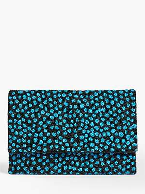Jigsaw Beaded Cheetah Print Clutch Bag, Multi