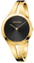 Calvin Klein Addict Lady Polished Yellow Gold Pvd Bangle, Black Dial
