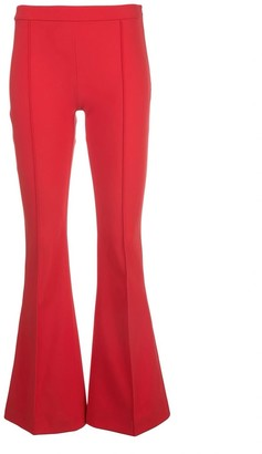 Adam Lippes Bonded Neoprene Cropped Flare Pant in Red