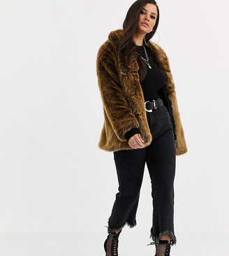ASOS DESIGN Petite stand collar faux fur coat in brown