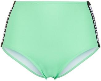 Moschino High-Waisted Logo-Stripe Bikini Bottoms