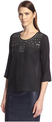 Society New York Women's Embellished Scoop Neck Top