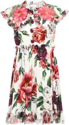 Dolce & Gabbana Button-embellished Appliqued Floral-print Stretch-crepe Mini Dress