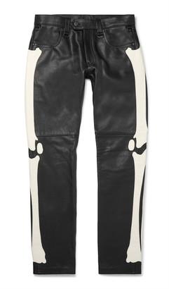 Blackmeans Slim-Fit Appliqued Leather Trousers