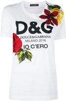 Dolce & Gabbana floral logo print T-shirt - women - Silk/Cotton/Polyamide/glass - 48