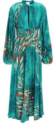Stella Jean Gathered Shirred Printed Silk Maxi Dress