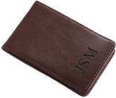 Personalized Planet Card Holders BROWN - Triple Initial Leather Billfold Case