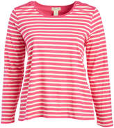 Caribbean Joe Pop Pink Stripe Lace-Panel Scoop Neck Tee - Plus