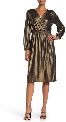 Free Press Metallic Long Sleeve Midi Dress