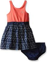 Calvin Klein Baby-Girls Stretch Jersey Dress with Printed Denim Skirt