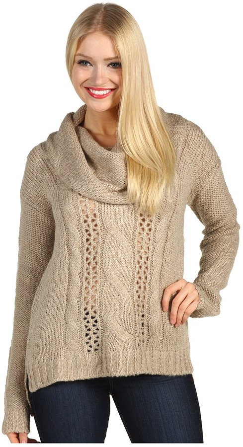 Kensie Cable Knit Slouch Pullover (Hazelnut Combo) - Apparel