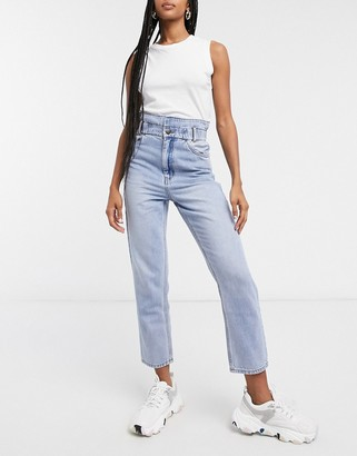 And other stories & organic cotton waist detail jeans in blue