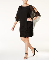 Xscape Evenings Plus Size Embellished Chiffon Capelet Shift Dress