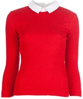 X Carven contrasting collar blouse