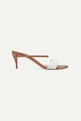 Jennifer Chamandi Andrea 65 Two-tone Leather Mules - Beige