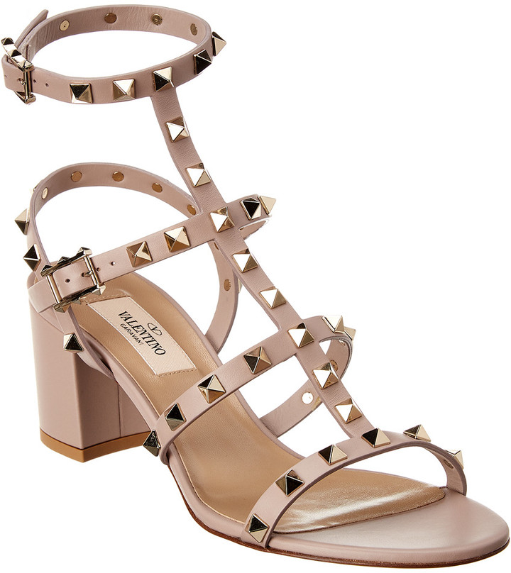 ed422799f7b Rockstud Caged 60 Leather Ankle Strap Sandal