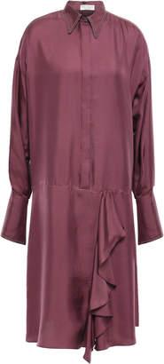 Brunello Cucinelli Draped Bead-embellished Silk-twill Shirt Dress