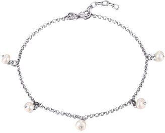 Seol + Gold Sterling Silver Pearl Charm Anklet