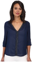 Christin Michaels Sheer Dahlia Blouse Sequin with Roll Up Sleeve and Tab