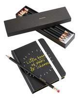 Fashion World Black Notebook & Personalised Pencils