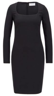 HUGO BOSS Long Sleeved Dress In Stretch Jersey With Houndstooth Check - Black
