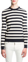 Saint Laurent Striped Cashmere Sweater, Blue/White