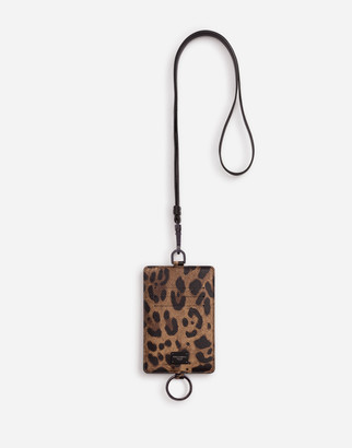 Dolce & Gabbana Leopard Print Card Holder In Dauphine Calfskin With Cross-Body Strap