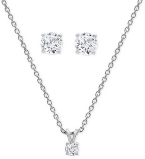 Forever Grown Diamonds 2-Pc. Set Lab-Created Diamond Solitaire Pendant Necklace & Matching Stud Earrings (1 ct. t.w.) in Sterling Silver