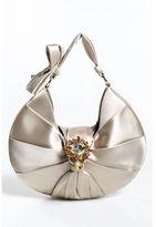 Christian Dior Beige Satin Ruched Jewel Embellished Evening Handbag EVHB