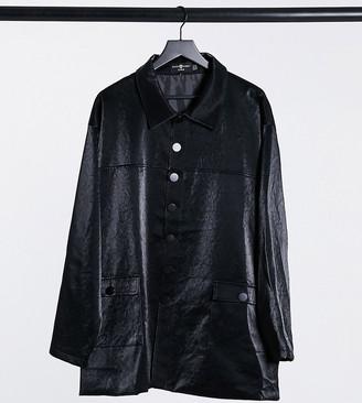 Daisy Street Plus longline jacket in textured vinyl