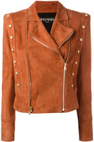 Balmain biker jacket - women - Cotton/Lamb Skin/Viscose - 36