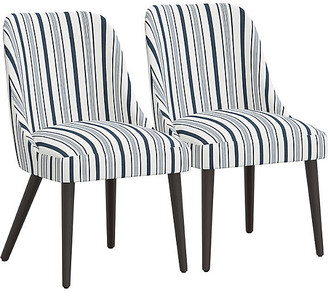 One Kings Lane Set of 2 Barron Side Chairs - Finn Stripe Navy