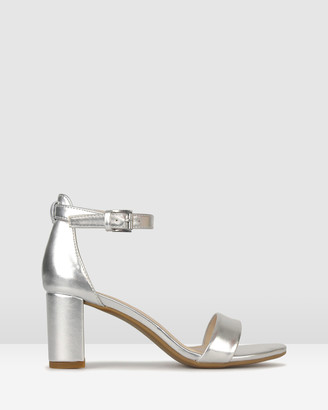 betts Women's Silver Heeled Sandals - Seduce 2 Low Block Heels - Size One Size, 6 at The Iconic
