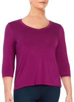 Lord & Taylor Plus Knit V-Neck Top