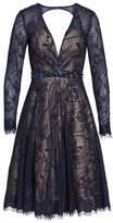 Mac Duggal Women's Open Back Lace A-Line Dress